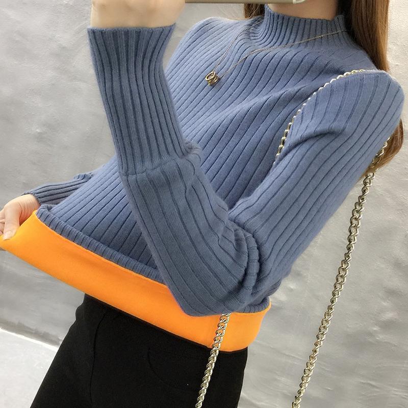 加绒毛衣女2018新款秋冬装加厚半高领套头针织韩版长袖保暖打底衫