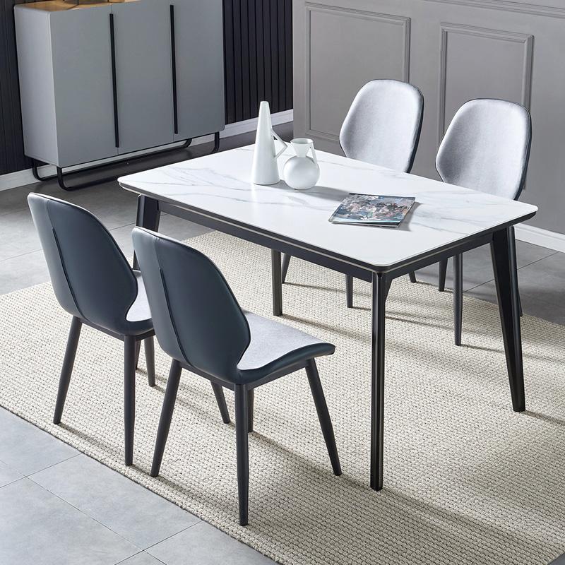 北欧轻奢岩板餐桌家用小户型饭桌现代简约长方形餐桌椅组合4\6人