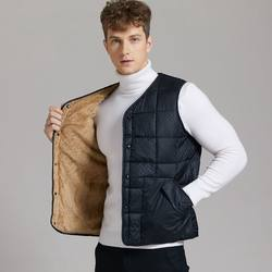 Autumn and winter warmth and thick down plus down cotton vest men's lightweight inner wear lamb velvet cotton vest middle-aged and elderly vest