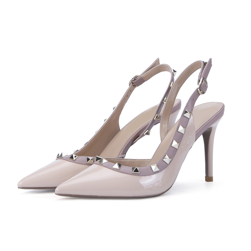 Riveted high heels women's summer thin heels sexy all-around pointy single shoes women's 2019 new fairy wrapped sandals