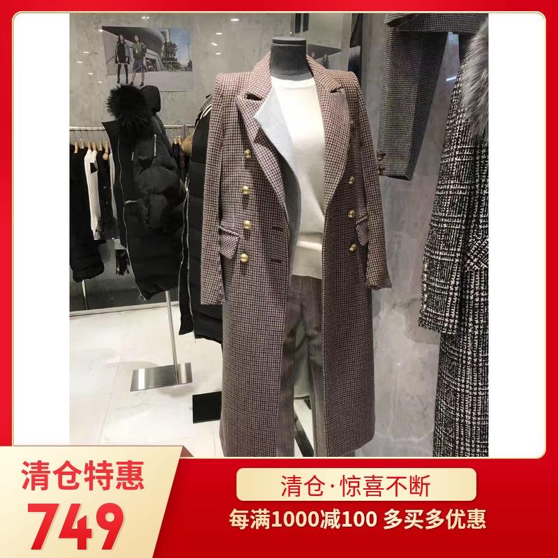 韩国进口18冬季毛呢外套小香粗花呢拼接长款千鸟格纹js羊绒大衣女