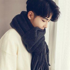 围巾男毛线冬季针织男士手工百搭韩版简约围脖新款加厚保暖秋冬天