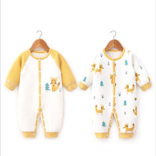 嬰蓓依嬰兒連體衣服新生兒秋冬裝爬服