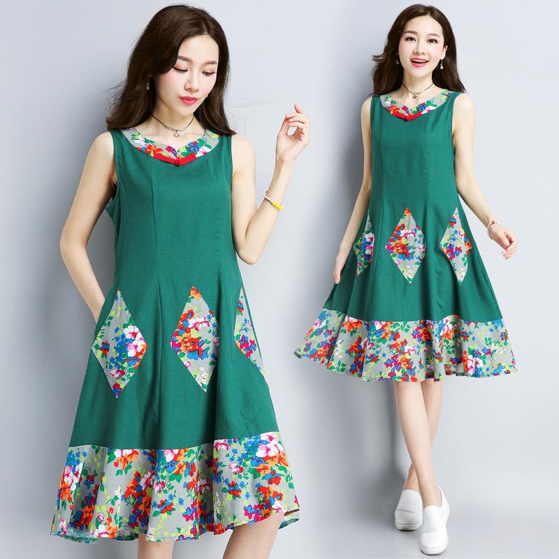 麻民族中长款2018春夏新款s宽松中国风复古女装裙子风s连衣裙