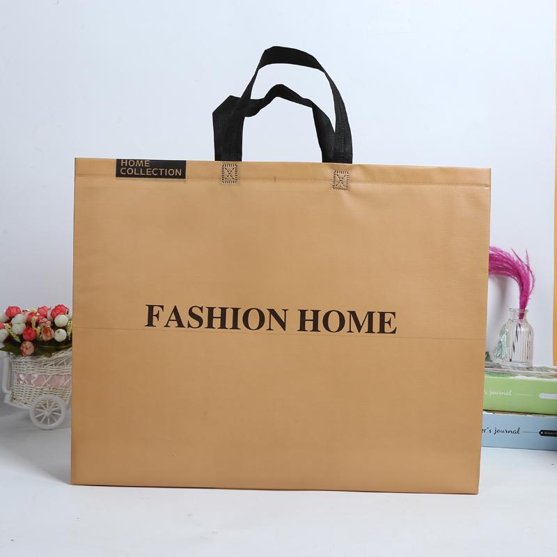 服装店手提袋无纺布防水立体袋购物环保袋超大土黄色布袋子定制号