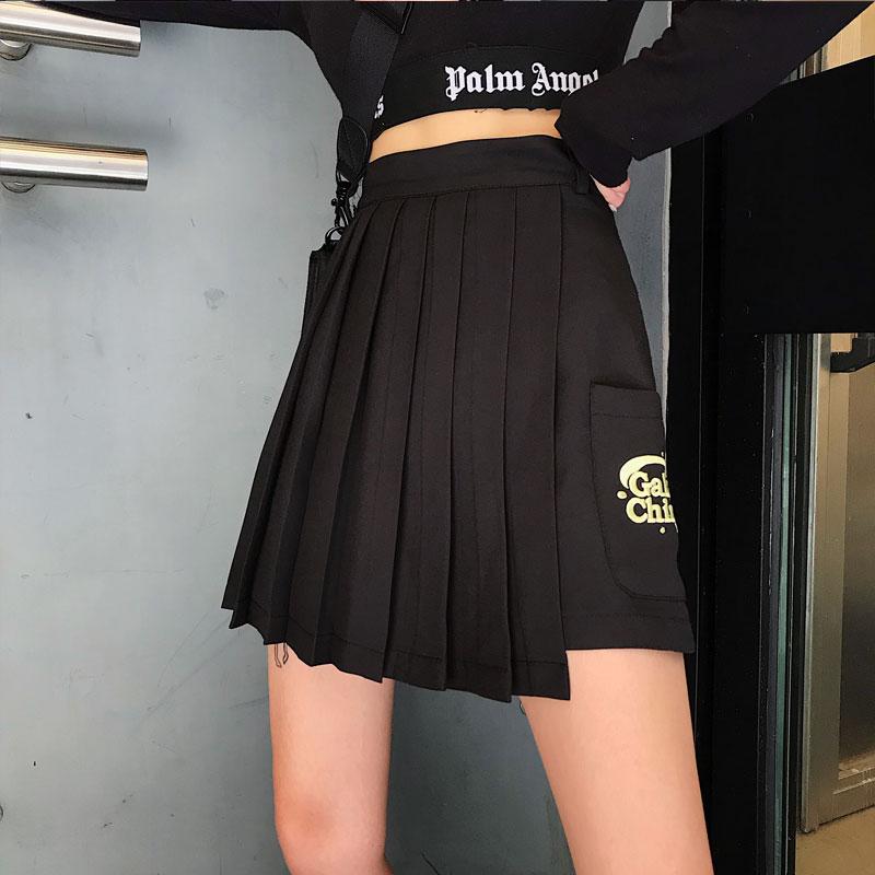Kích thước lớn của phụ nữ tối punk phong cách xếp li váy quần eo cao eo bất thường túi công cụ váy ngắn - Váy
