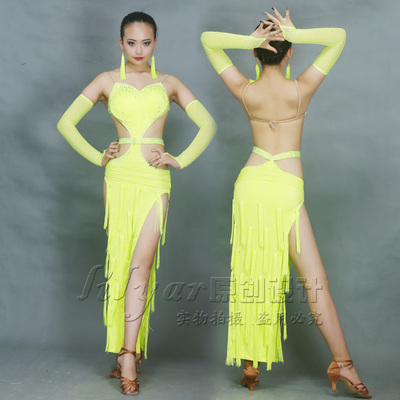 Women's fringed Latin dance skirt performance clothing competition clothing costumes fluorescent green rhinestone fringed Latin dance skirt