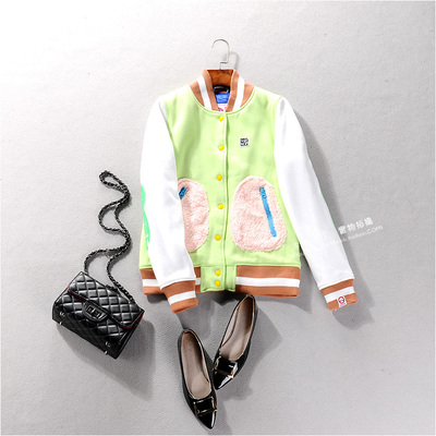 19529 Winter new women's long-sleeved short sleeve coat baseball uniform thick warmth to reduce the age of wild