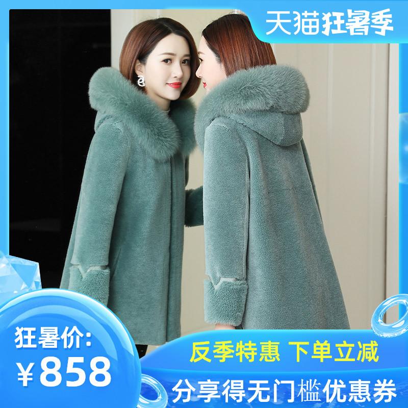 Áo lông cừu ngắn nữ 2019 lông cừu tổng hợp một con cáo lông Lông xù lông mùa đông trùm đầu - Faux Fur