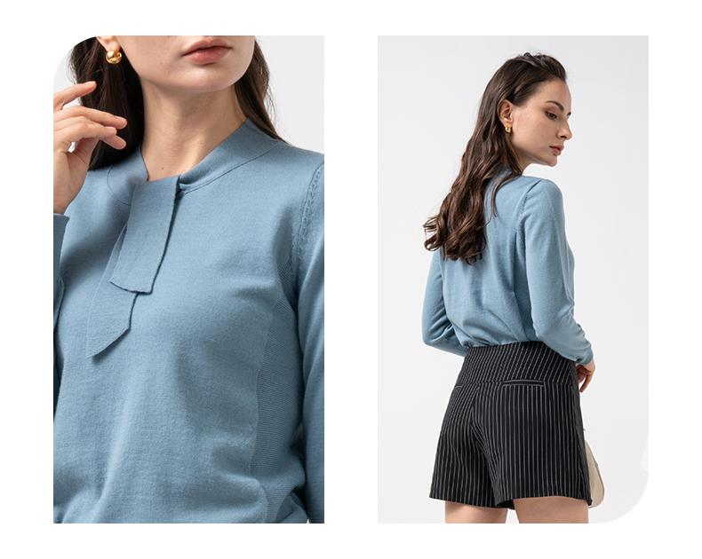 女装新款优雅蝴蝶结立领修身绵羊毛纯色针织衫详细照片