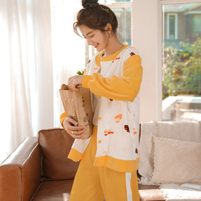Pajamas female spring and autumn cute long sleeve jacket set casual two-piece coral velvety autumn winter home clothing wear
