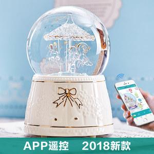 音乐盒水晶球旋转木马蓝牙MP3八音盒创意男女友儿童生日新年礼物
