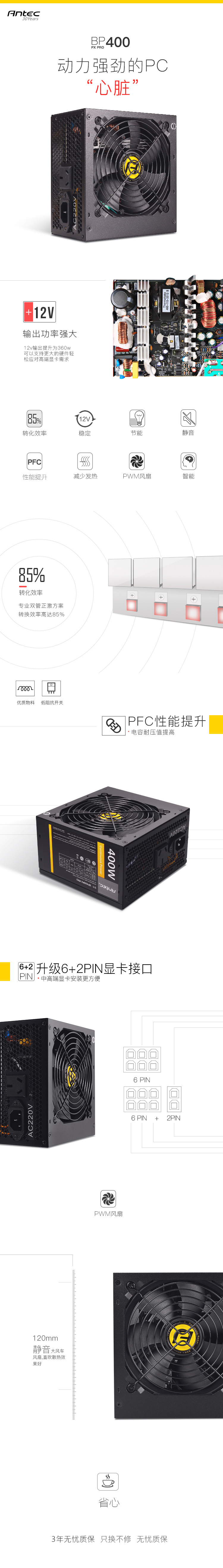 48 85] Antec/Antec BP400PX PRO power supply rated 400 watts