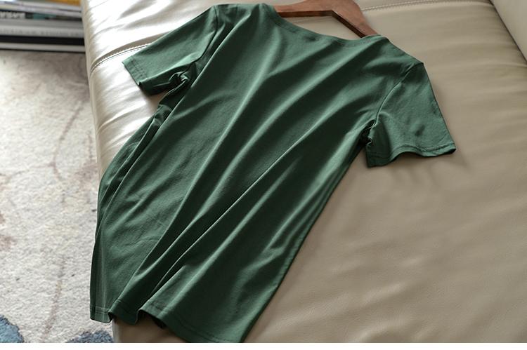 曾热销千多件纯色超美超火的支绿色双面丝光棉圆领短袖恤详细照片