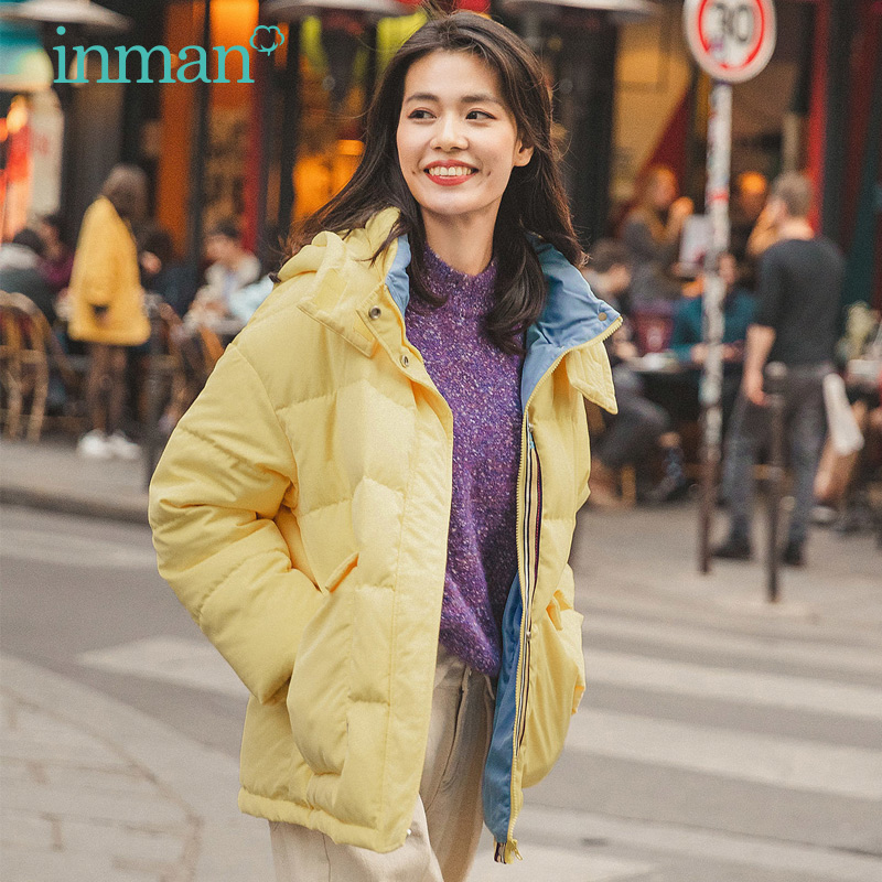 Inman flagship store down jacket women's short 2020 summer outfit new burst small pie overcome jacket bread clothes