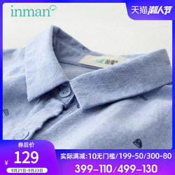Yinman Flagship Store Blue Shirt Women Long Sleeve Women 2020 New Autumn Printed Cotton Shirt Polka Dot Top