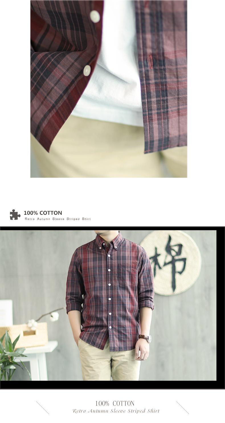 Farlane wang check shirt men's long-sleeved cotton lined clothes retro Korean version slim spring and autumn youth casual inch coat 38 Online shopping Bangladesh