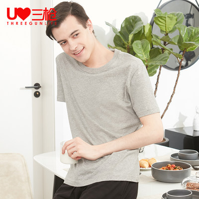 Three guns T-shirt male 2021 summer new water soft cotton round neck short-sleeved bottom loose breathable cotton solid color sweatshirt