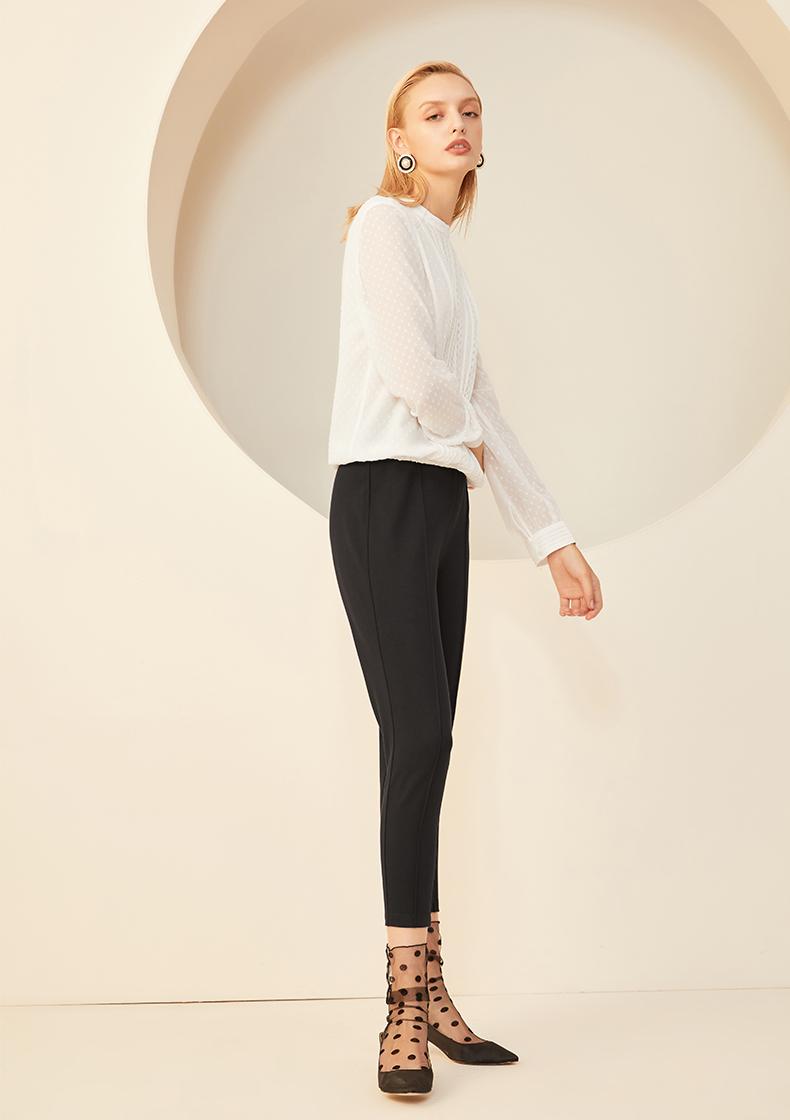 La Chapelle/拉夏贝尔白衬衫女圆领2019春季新款秋韩版长袖雪纺衬衣
