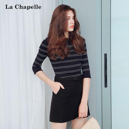 拉夏贝尔2018秋装新款韩版修身七分袖套头中袖针织衫女士 lachapelle