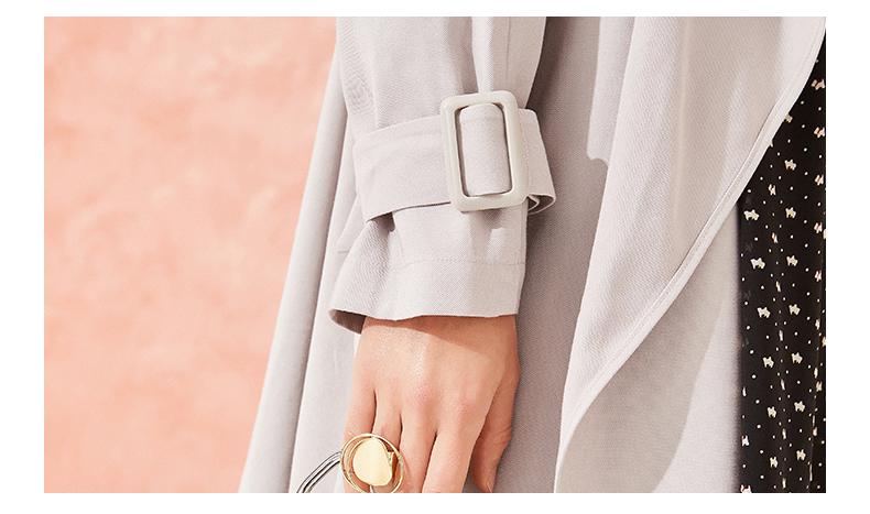 拉夏贝尔中长款过膝风衣女2019春季新款韩版港味外套