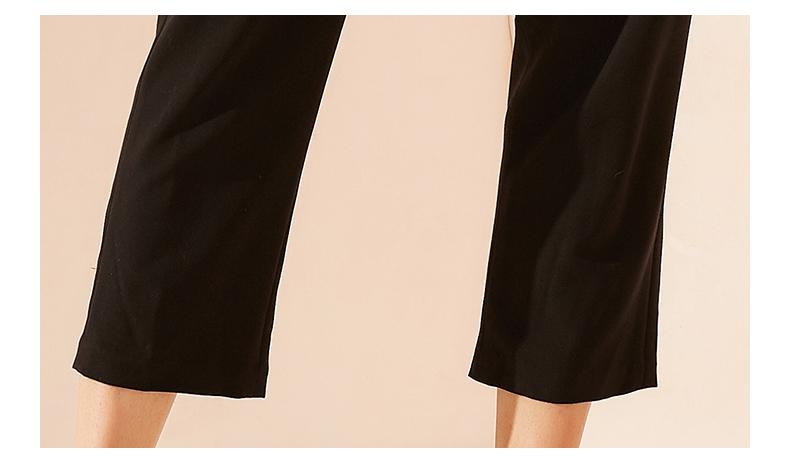 拉夏贝尔2019新款女装夏装休闲黑色七分长裤休闲裤女