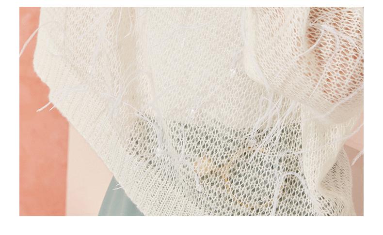 La Chapelle毛衣女装2019春季新款宽松海马毛流苏长袖针织衫上衣
