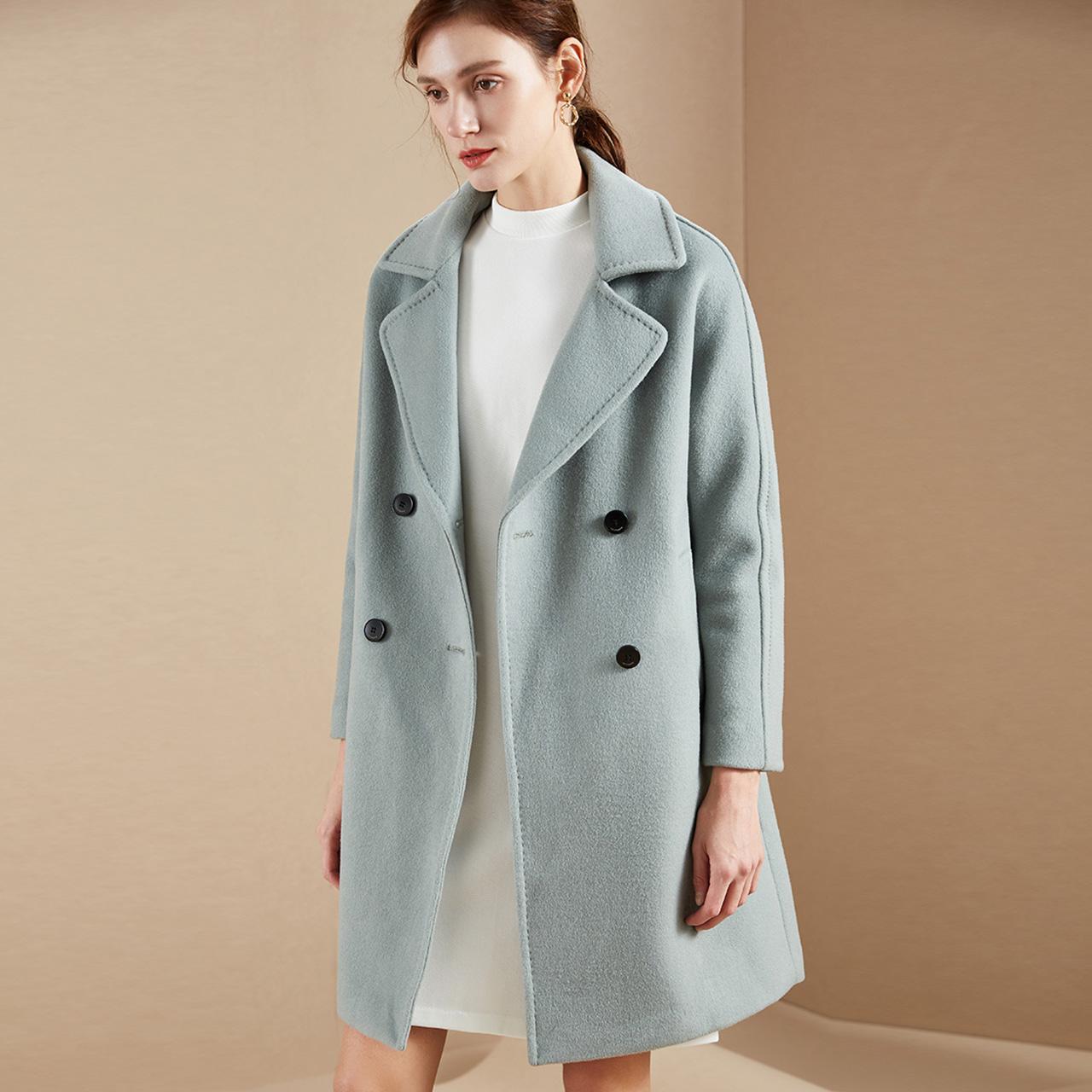 反季特价 拉夏贝尔 女式中长款羊毛呢大衣外套 天猫优惠券折后¥179包邮(¥429-250)3色可选