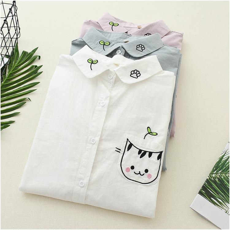 日系森女春装新款可爱猫咪刺绣长袖衬衫学生少女休闲百搭衬衣上衣