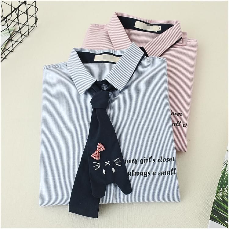日系森女春装可爱猫咪领带长袖衬衫学生少女软萌妹子清新条纹衬衣