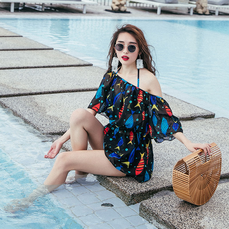 ec13562694 Swimsuit female three-piece bikini small chest gathered skirt-style blouse  cover belly sexy spa conservative split swimsuit