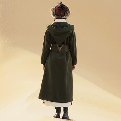 迷阵原创秋装长款呢大衣宽松显瘦连帽绣花毛呢外套女MZ14062