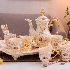 欧式咖啡具咖啡杯八头套装结婚英式陶瓷器花茶下午茶茶具带托盘