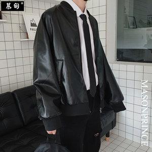 男士外套秋季韩版潮流青少年宽松帅气秋装皮衣夹克百搭休闲棒球服