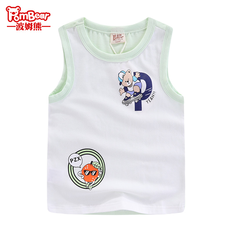 Pom bear 2019 summer new boys sleeveless t-shirt children's sports vest in the Big child Bear loose sweater
