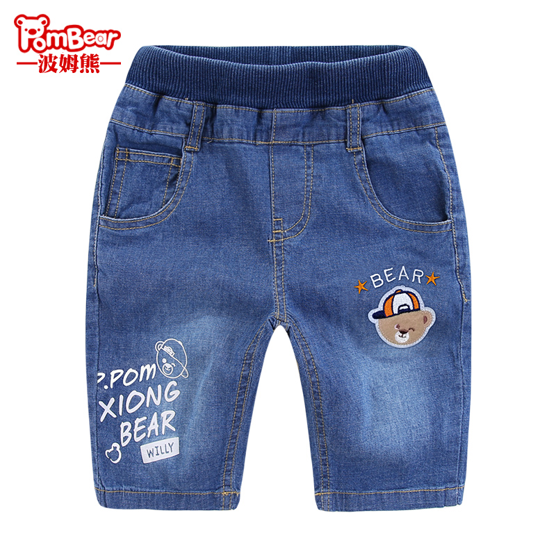 Bom bear summer dress New children's shorts boys outside wear summer jeans in the Big children's five points pants thin paragraph cool pants