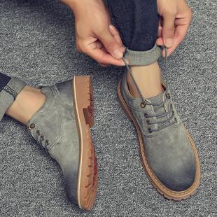 秋季男鞋韩版工装潮鞋英伦休闲皮鞋