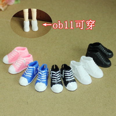 taobao agent White black shoes OB11 sneakers with opening behind the cloth soldier OB can wear flat feet dolls