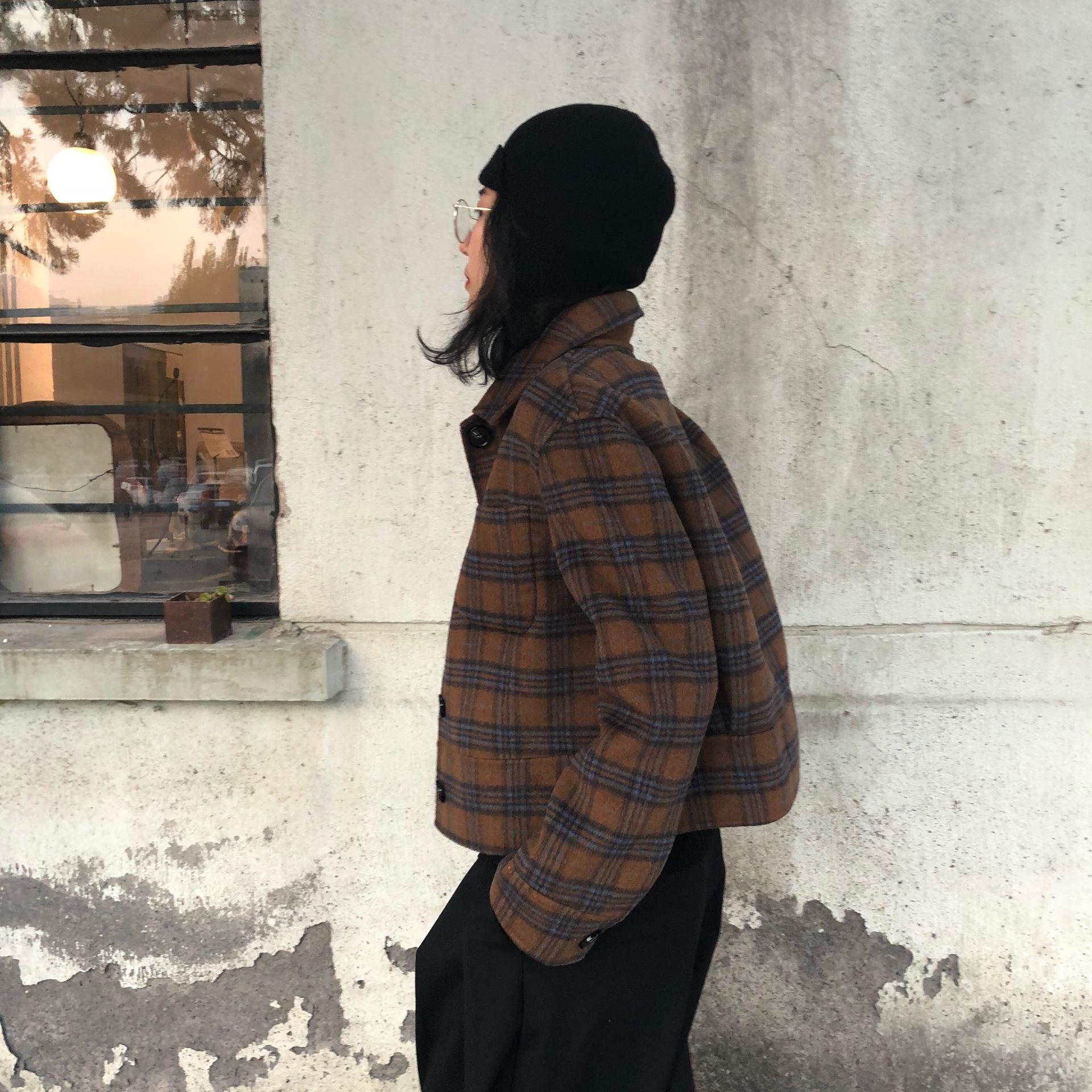 Mùa thu và mùa đông Hàn Quốc kẻ sọc hai mặt áo len Úc lỏng lẻo nhỏ cashmere áo khoác len ngắn - Áo khoác ngắn