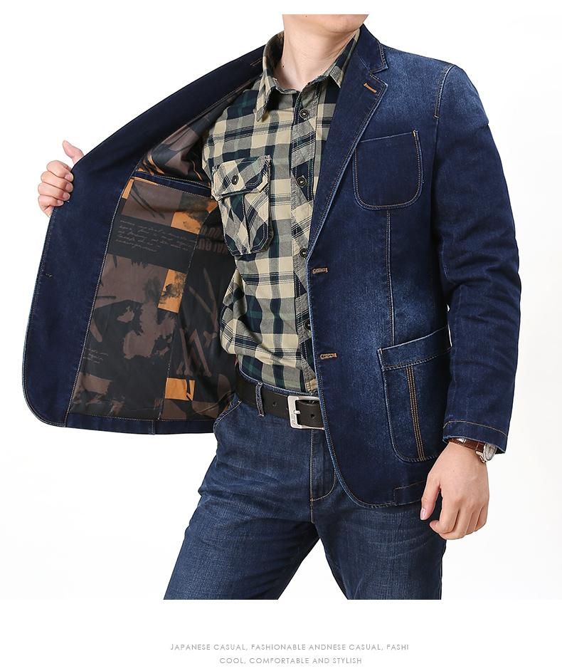 Denim jacket men casual business single suit top spring and autumn Korean version trend retro suit jacket 50 Online shopping Bangladesh