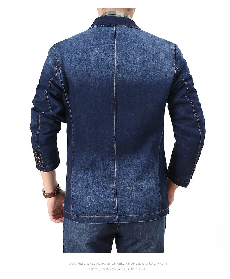 Denim jacket men casual business single suit top spring and autumn Korean version trend retro suit jacket 47 Online shopping Bangladesh