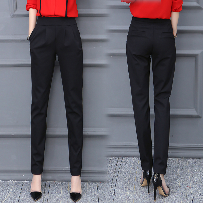 cb49a89f2843 Pants spring and autumn harem pants female thin summer trousers nine points  small feet slim suit pants black high waist casual pants