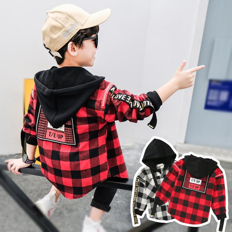 Детское на мальчика длинный рукав сорочка осень стиль 2018 новая коллекция Большой мальчик корейская версия куртка демисезонный детские клетчатый рубашка волна