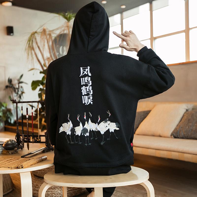 Mùa xuân cổ tích Trung Quốc cần cẩu thêu áo len trùm đầu lỏng lẻo cộng với áo béo XL béo nam áo khoác thủy triều - Cực lớn