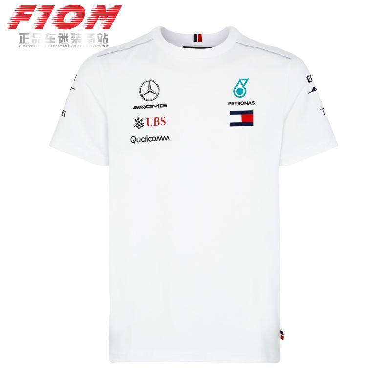 F1 слива матч мораль этот быстро бегать AMG автоколонна Mercedes 2018 короткий рукав T футболки Tee гоночный одежда белый