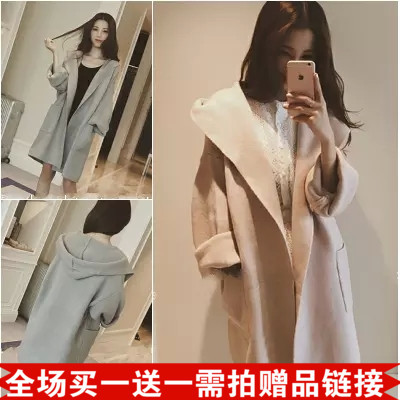 2016 autumn and winter installed South Korea's new solid color long-sleeved cardigan lapel loose jacket mature ladies temperament wild