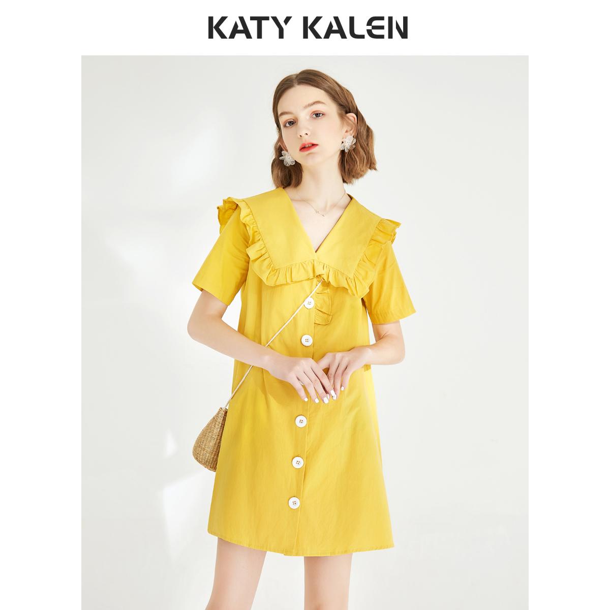kk2019新款娃娃纯棉宽松黄色领女装仙女裙子桔梗短袖春装连衣裙夏