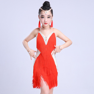 Girls' Tassels Latin dress Children's Latin Skirt Girls'Performing Dresses Children's Performing Competition Gonggong Dresses Latin Dance Dresses