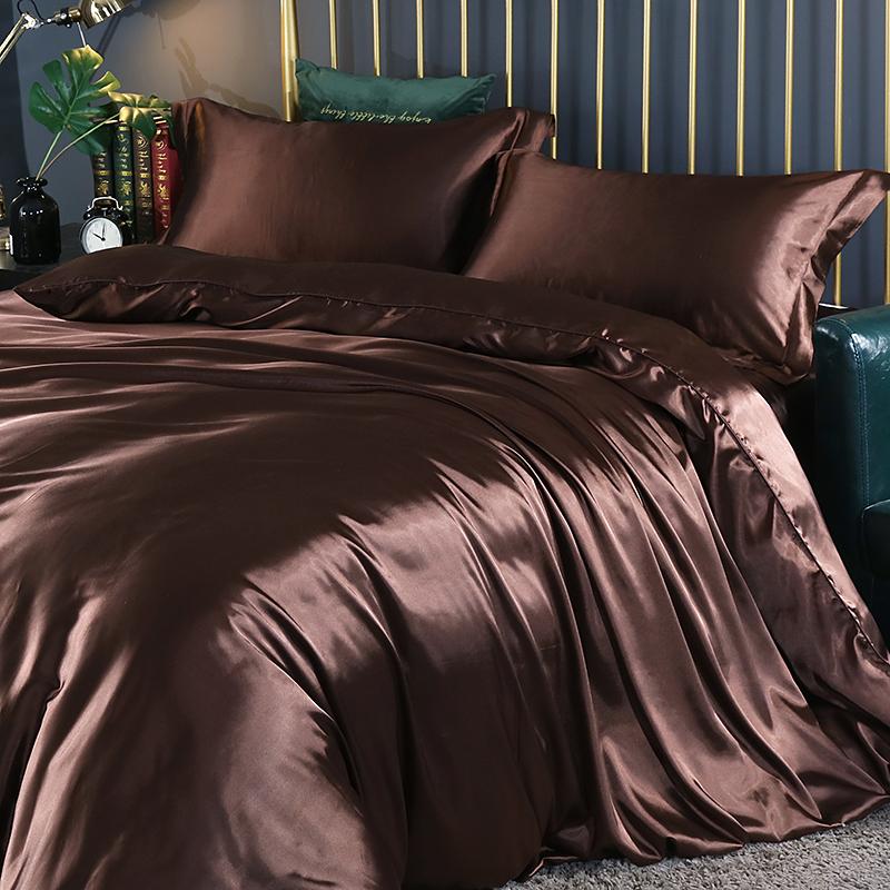 夏季真丝四件套丝滑裸睡床单罩冰丝绸缎桑蚕丝凉被套床笠床上用品详细照片