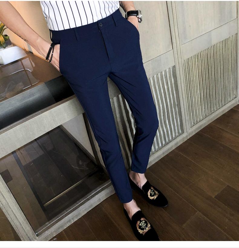 Mùa hè nam chín quần Hàn Quốc phiên bản của xu hướng của quần âu thanh niên hoang dã chân quần Slim 9 điểm quần quần nam